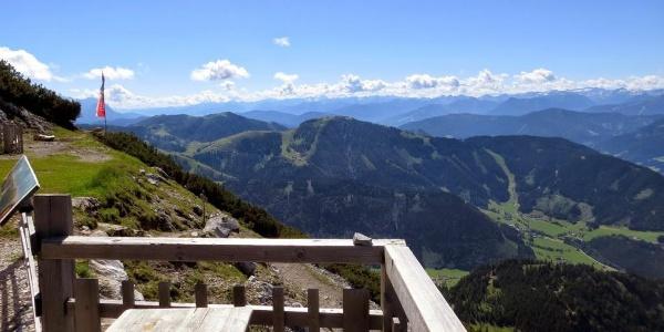 Von der Terrasse Blick hinunter zum Ausgangspunkt in der Wenger Au