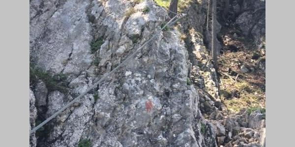 Einfache, seilversicherte Stellen am Rudolfsteig