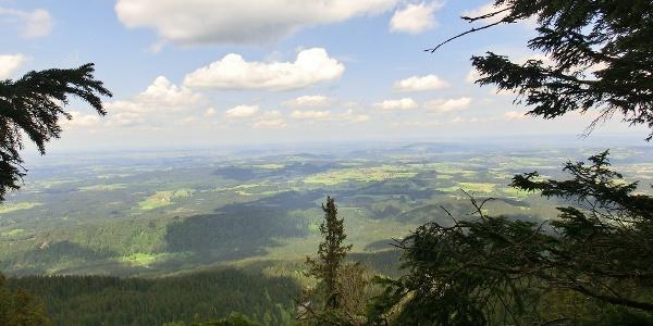 Blick ins Alpenvorland zur Wieskirche