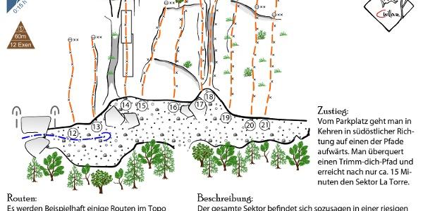 La Torre am Monte Cucco - Topo des Klettergartens bei Finale