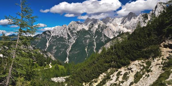 A wonderful view from Vršič pass with the Russian Road seen below and the surrounding Julian Alps.