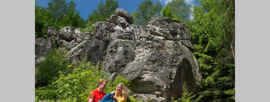 Rast an einer Felsformation