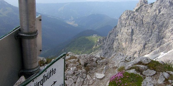 Blick vom Steiglpass auf die Hofpürglhütte