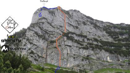 Flower Power in der Törlkopf Ostwand - Wandbild mit Route (Topo)
