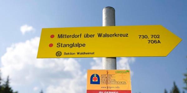 Wegweiser Stanglalpe