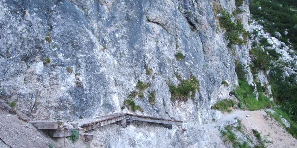 Particolare del sentiero tra il rifugio Croz dell'Altissimo e il rifugio Selvata