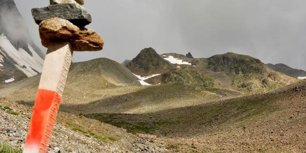 Abstiegsweg von der Kaunergrathütte - Rückblick