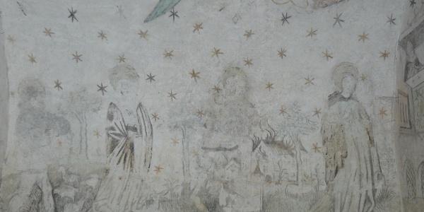 Detail der Wandmalereien der Kapelle St. Wendelin