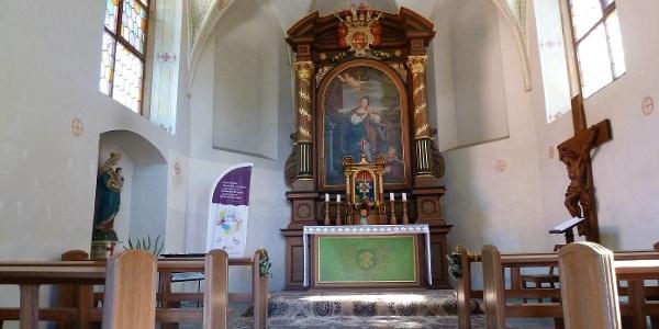 Innenraum der Kluskapelle St. Lucia