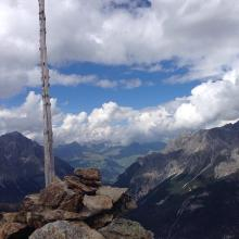 Schöne Aussicht richtung Piz Minschun und das Skigebiet von Scuol