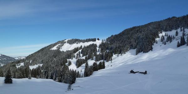Ober-Alpe im Winter mit Rangiswanger Horn