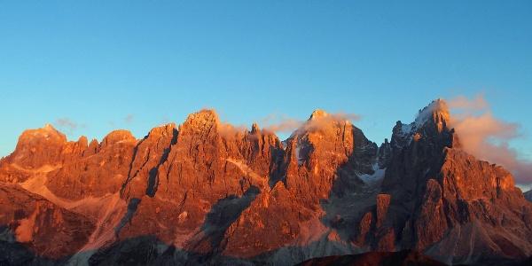 Sonnenuntergang auf die Pale di San Martino