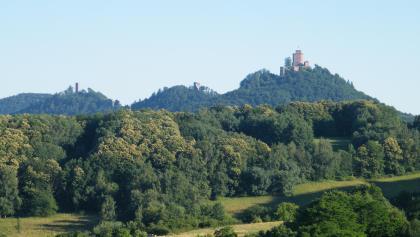 Vom Rastplatz 3-Burgen-Blick schweift der Blick zu den Burgen Trifels, Anebos und Scharfenberg.