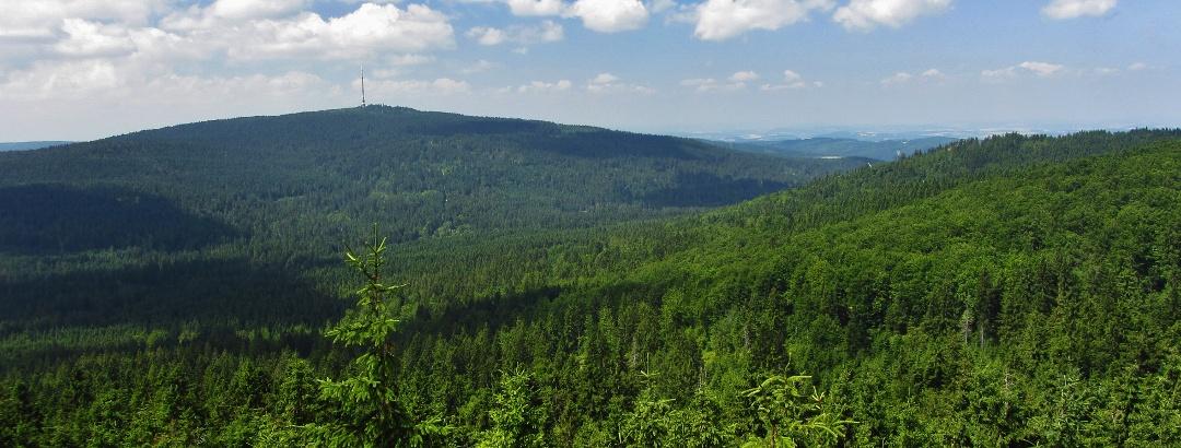 Panoramic view from Nußhardt (972 m) to Ochsenkopf (1024 m)