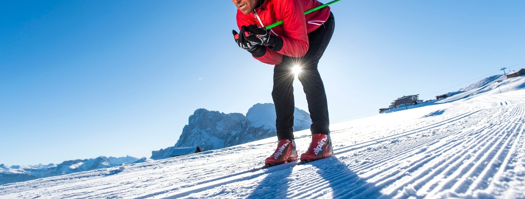 Cross country skiing on the Seiser Alm