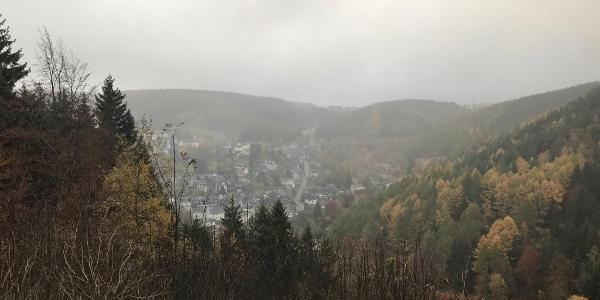 Blick vom ehemaligen Skihang im Nebel nach Lauscha.