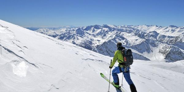 Übergang zum Hohen Eis, Blick auf Ötztaler Alpen