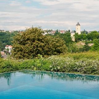 Blick vom Panorama Bad Stromberg auf die Stromburg