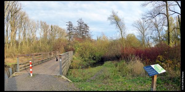 """Info-Tafel und Brücke über den Bach """"Urdenbacher Altrhein"""" in der Urdenbacher Kämpe"""