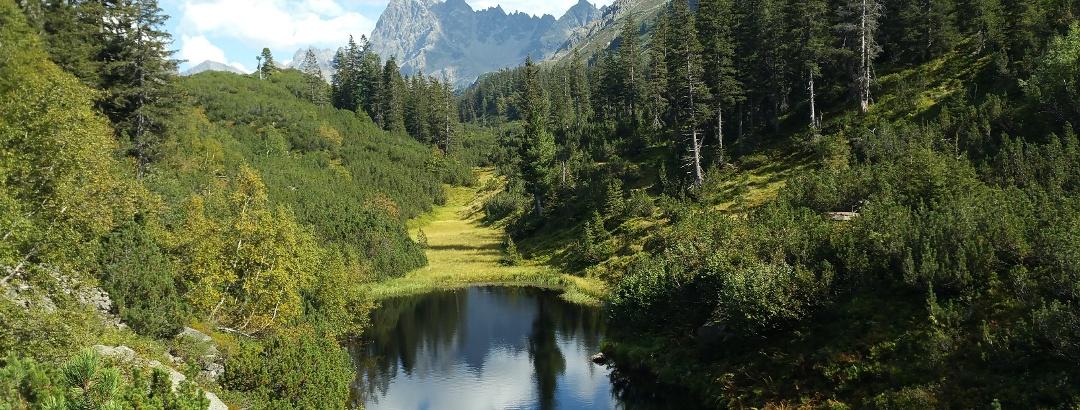Schwarzsee, im Hintergrund der Patteriol