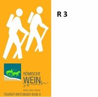 Markierungszeichen R 3 des Rundwanderwegenetzes der Weinkulturwanderlandschaft Römische Weinstraße