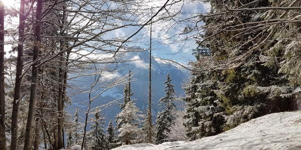 Blick zum Watzmann während des Aufstiegs zum Götschn