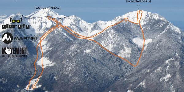 Hochfelln, Ruhpoldinger Skitourenschaukel Übersichtsbild - Topo