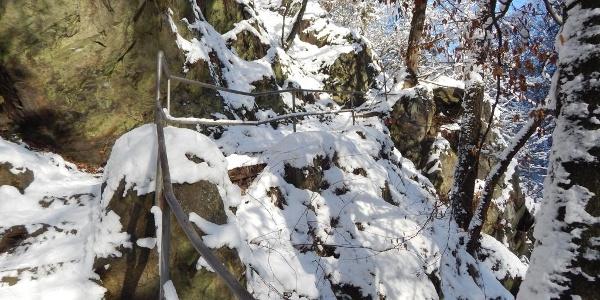 Felsentreppe im Winter
