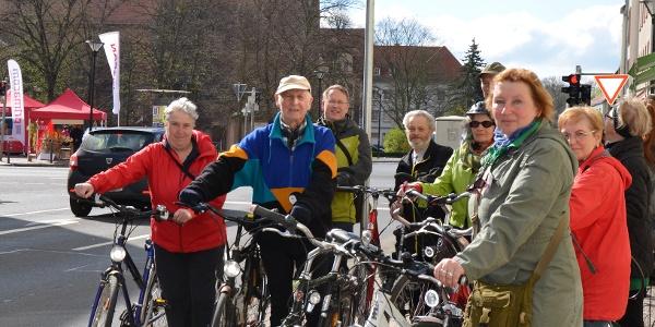 Radfahrer in der Eilenburger Innenstadt