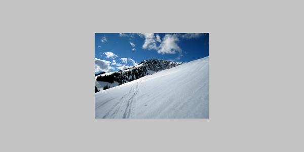 Blick von der Hochberghütte zum Gipfel