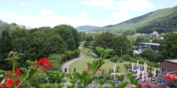 Blick in den Rosengarten und Park