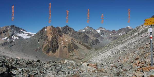 Bergpanorama ab Fuorcla Suvretta Richtung Jenatschhütte