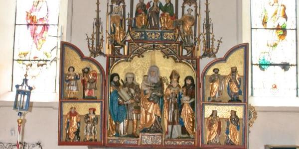 Kirche Bartholomäberg Detail Bergknappenaltar