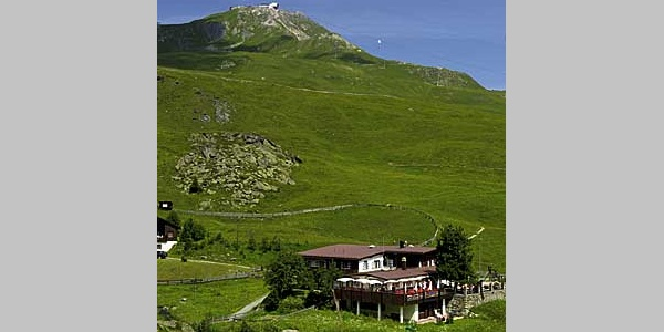 Das Restaurant Alpenblick im Sommer