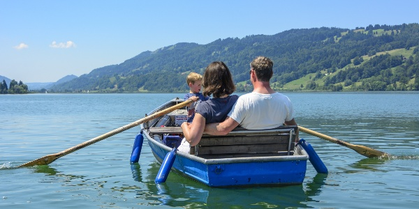 Boat trip at lake Großer Alpsee