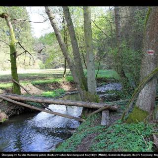 Übergang im Tal des Radnický potok (Bach) zwischen Mündung und Nový Mlýn (Mühle)