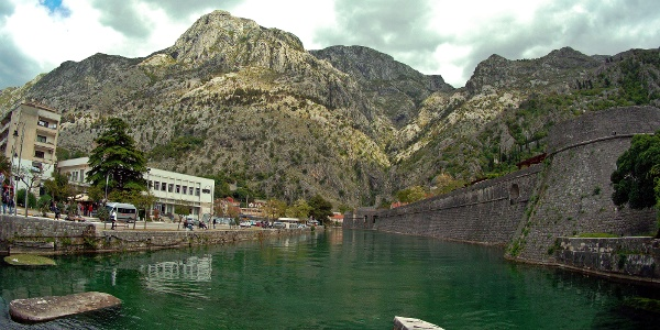 The Pestingrad characterizes the townscape of Kotor. View from the old harbor.