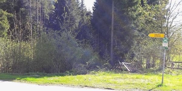 Kreuzung in Vorwald, wo wir links nach Hacka abbiegen