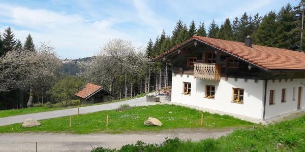 Haus im Frühjahr mit Blick nach Maibrunn