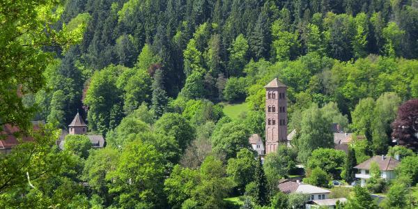 Blick auf's Kloster Hirsau bei der Abfahrt von Ottenbronn