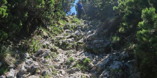 Steiniger Abstieg zur Probstalm