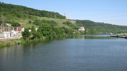Neckar bei Neckarzimmern im Hintergrund Burg Hornberg