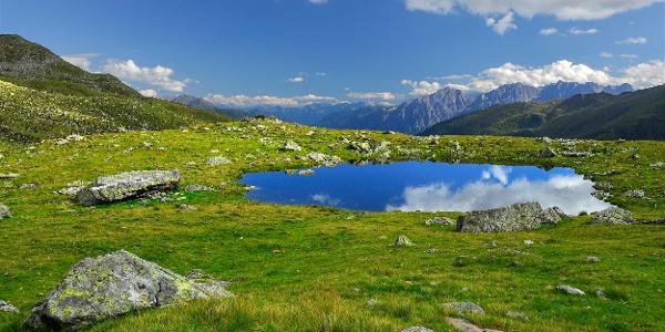 Seeauge mit Lienzer Dolomiten, Aufstieg Untere Seescharte