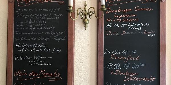 Menütafeln im Ratskeller Dornburg