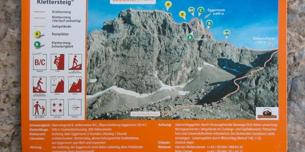 Einstieg in den Seekofel-Klettersteig (B/C) in der Nähe der Kerschbaumeralm-Hütte