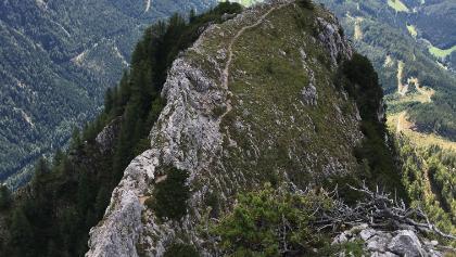 Nach dem steilen Zustieg kommt eine schöne Klettersteig Passage.