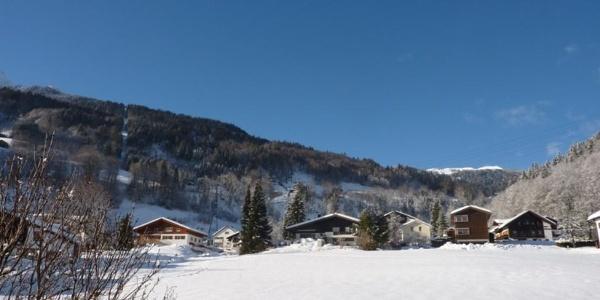 """Blick zum Skigebiet """"Golm"""""""