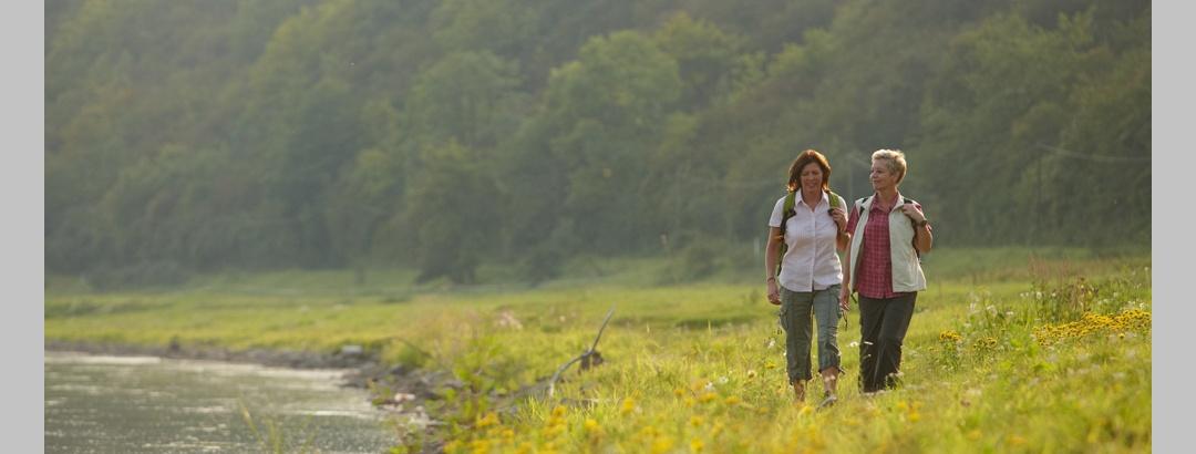 Wanderer auf einer Wiese an der Weser