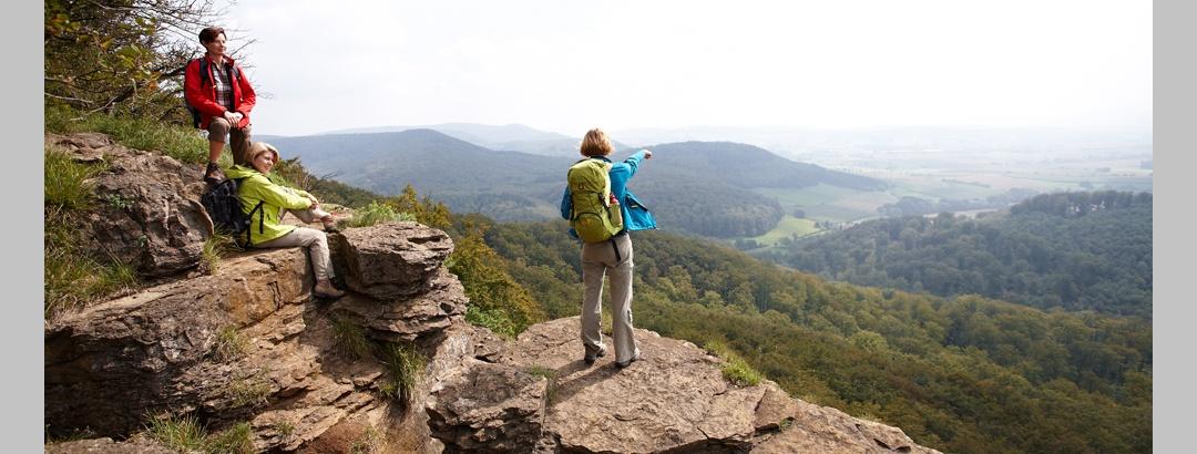 Wanderer machen Rast auf den Hohensteiner Klippen und genießen den Ausblick