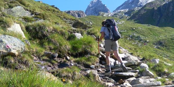 Zustieg zum Roßkar mit erstem Blick zum 'Matterhorn'